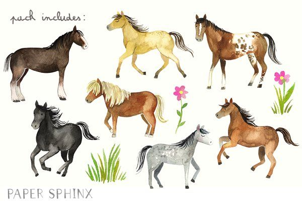 Watercolor Horses Clipart Pack.