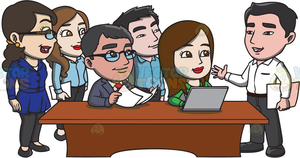Cartoon Office Workers Clipart.