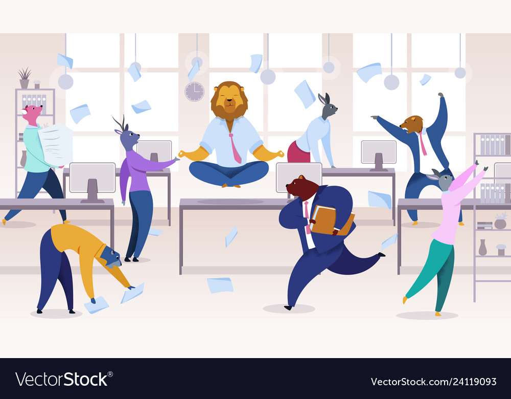 Office workers with animals heads clipart.