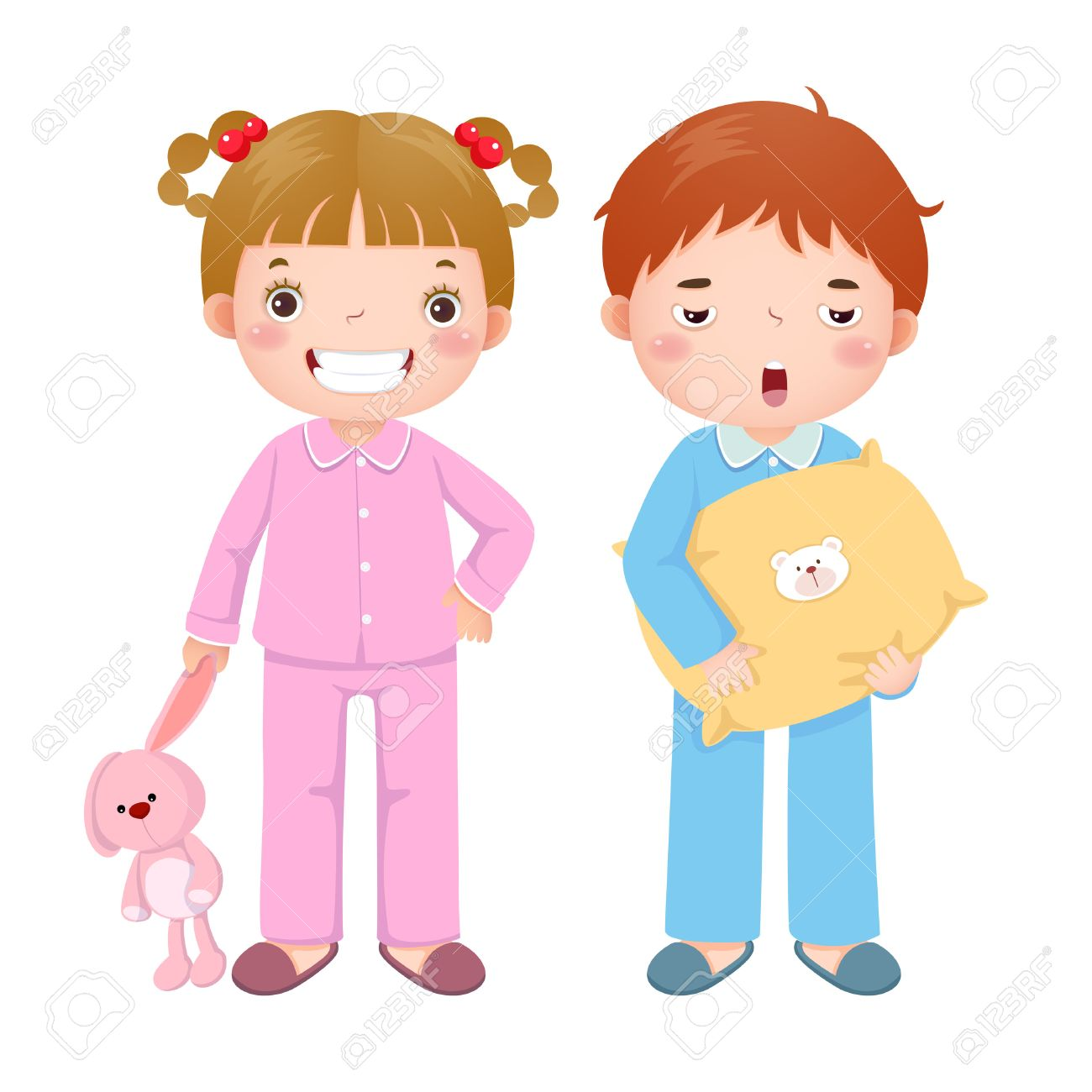 Kids Wearing Pajamas Clipart.