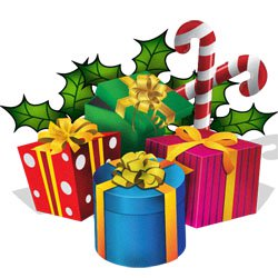 Clipart: Christmas Presents, Ribbons.