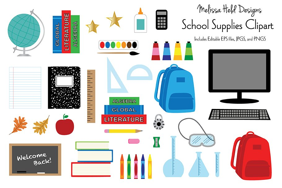 School Supplies Clipart.