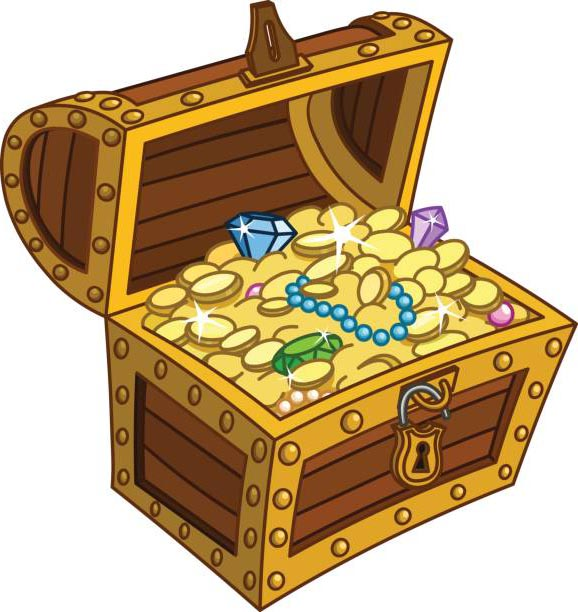 Treasure Chest Clip Art with Diamond.