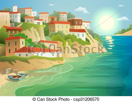 Vectors Illustration of Coastal sea village living colorful poster.
