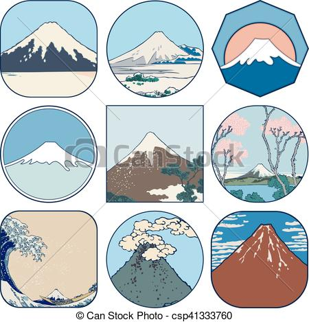 Clip Art Vector of Set of picturesque sketches of Mount Fuji in.