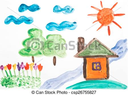 Vector Illustration of watercolor drawing summer day.