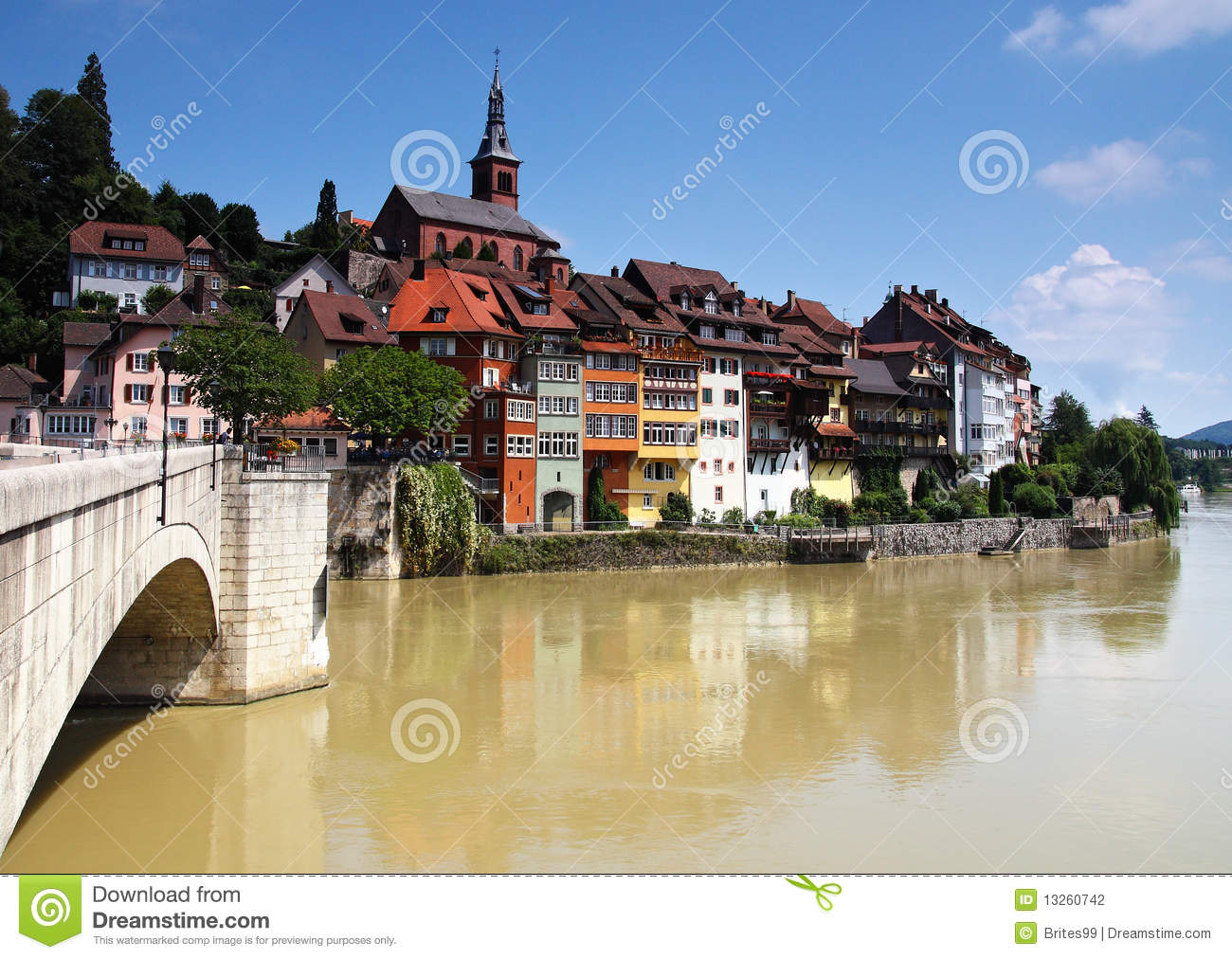 Picturesque German Town Upon A Brown River Stock Images.