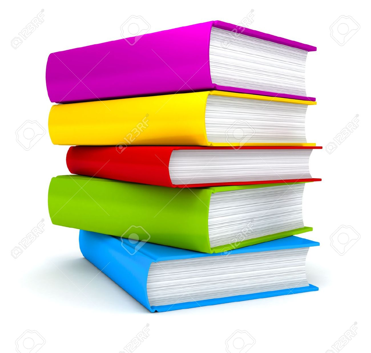 Stack Of Books On White Background . 3d Render Stock Photo.