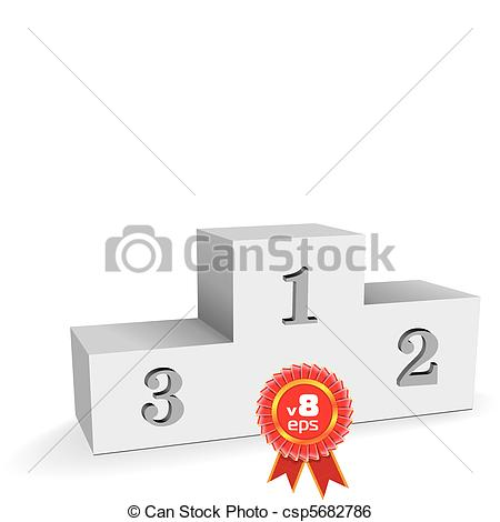 Clip Art Vector of empty sport winning pedestal or stand on white.