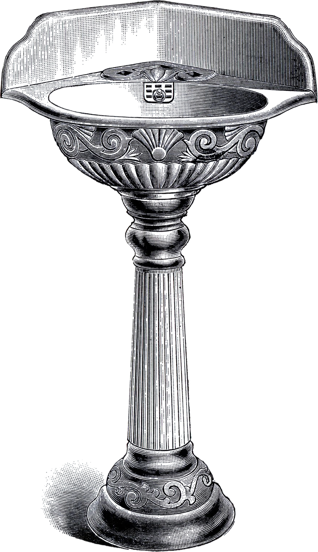 Antique Pedestal Sink Clip Art.