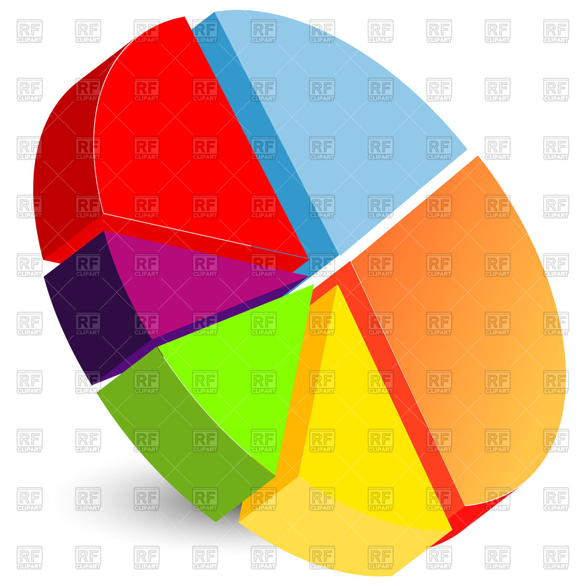 3D pie chart icon Vector Image #44720.