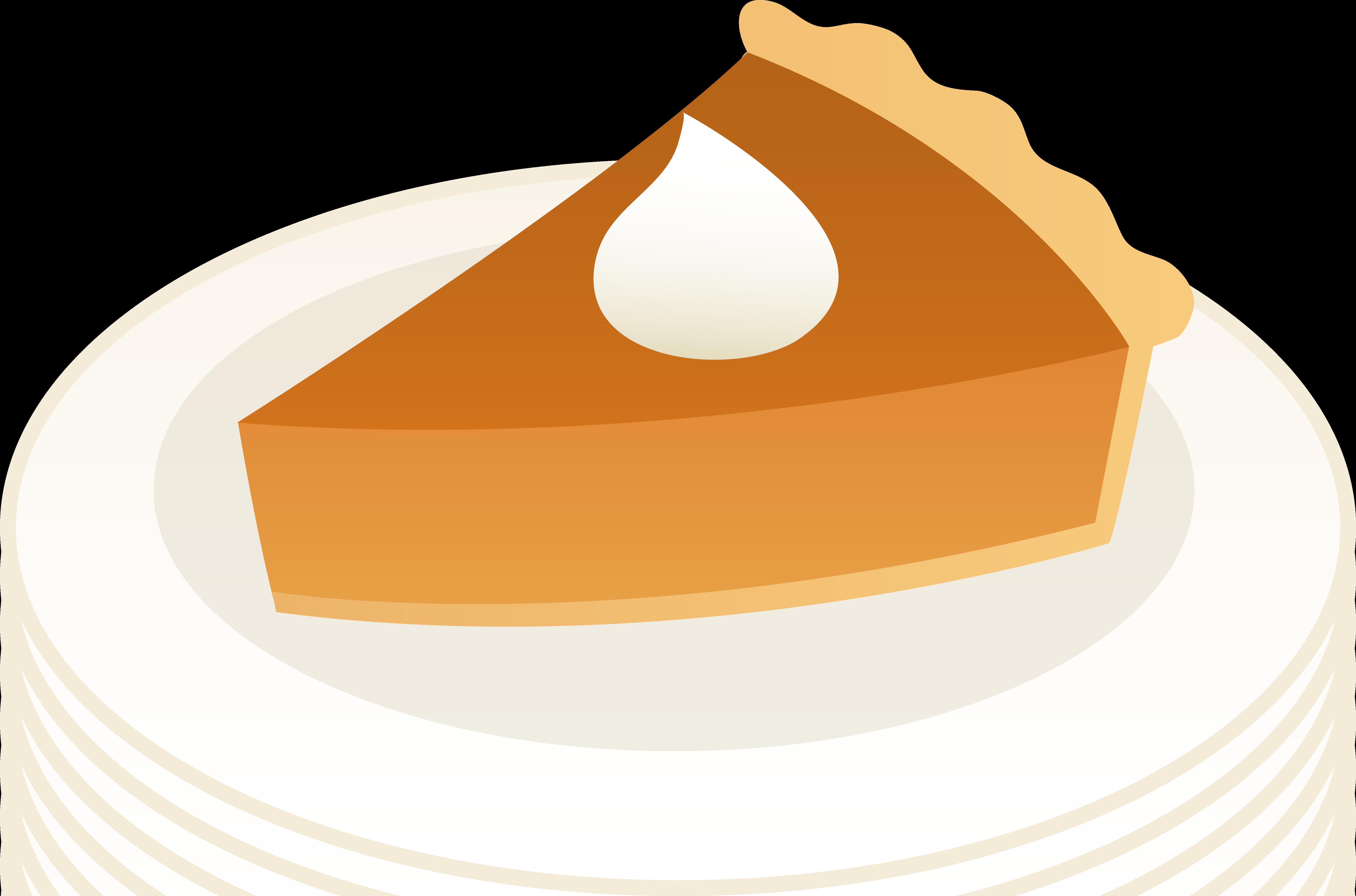 Slice of Pumpkin Pie on Plate.