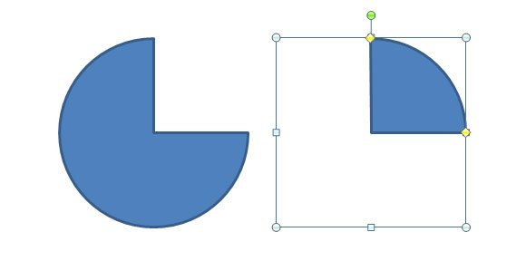 How to Insert a Quarter Circle Shapes in PowerPoint 2010.