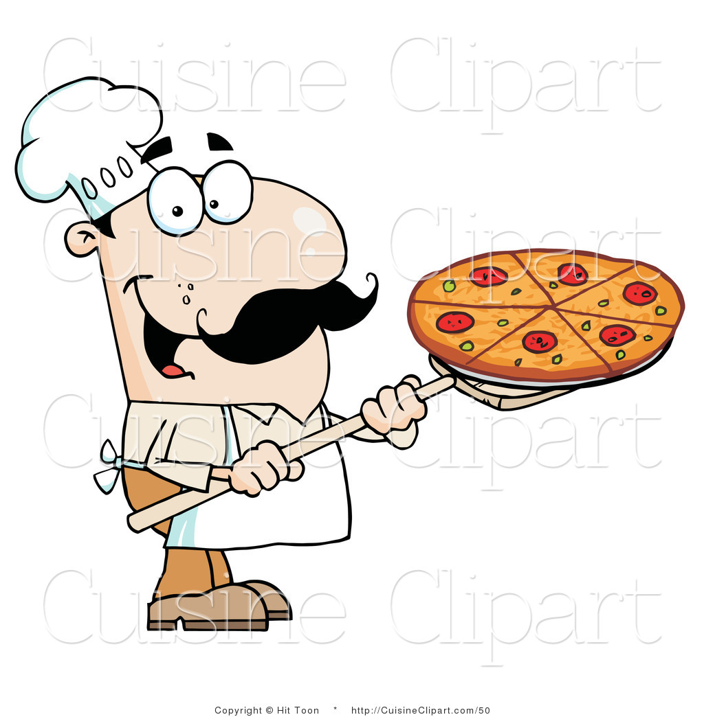 Cuisine Clipart of a Happy Caucasian Chef with a Pizza Pie on a.