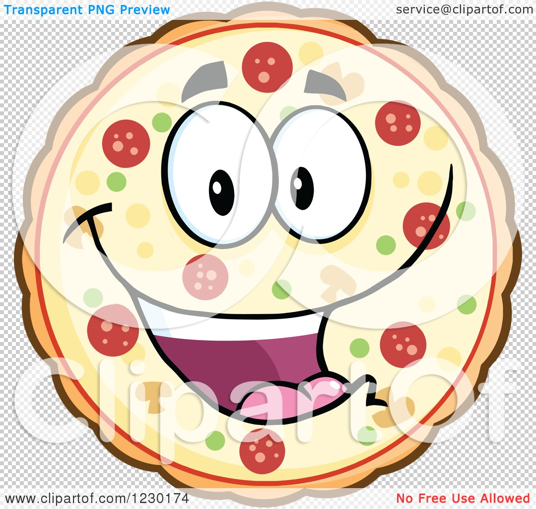 Clipart of a Happy Pizza Pie Mascot.