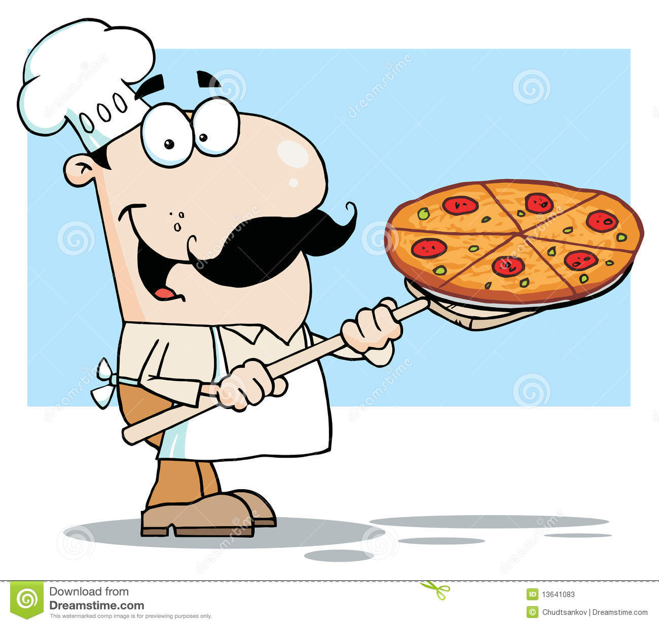 White Chef Carrying A Pizza Pie On A Stove Shovel Stock Photos.