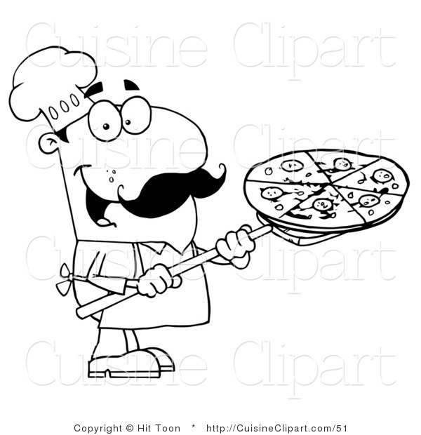 Cuisine Clipart of a Coloring Page of a Chef Carrying a Pizza Pie.