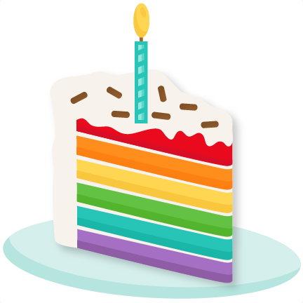 Rainbow Piece of Cake SVG scrapbook cut file cute clipart files.