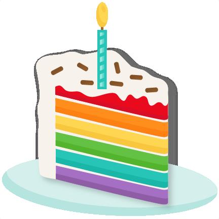 Rainbow Piece of Cake SVG scrapbook cut file cute clipart files.