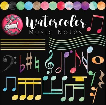 Watercolor Music Notes Clip Art.