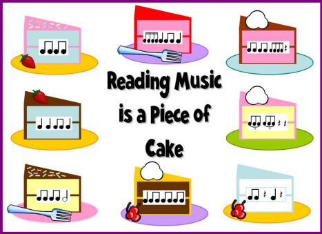 Reading Music is a Piece of Cake bulletin board.