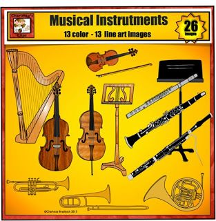 Music Clip Art Featuring Musical Instruments from Charlotte's.