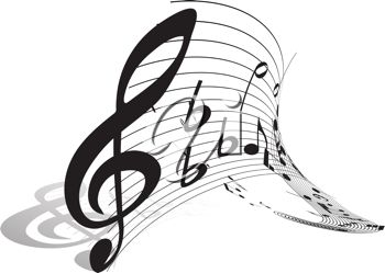 Picture of a Treble Clef Piece of Music With an Abstract Staff In.