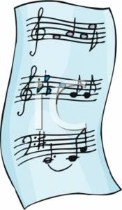 Clipart Picture of a Piece of Sheet Music.