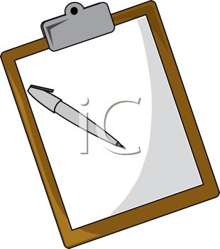 Royalty Free Clip Art Image: Office Clipboard With a Piece of.