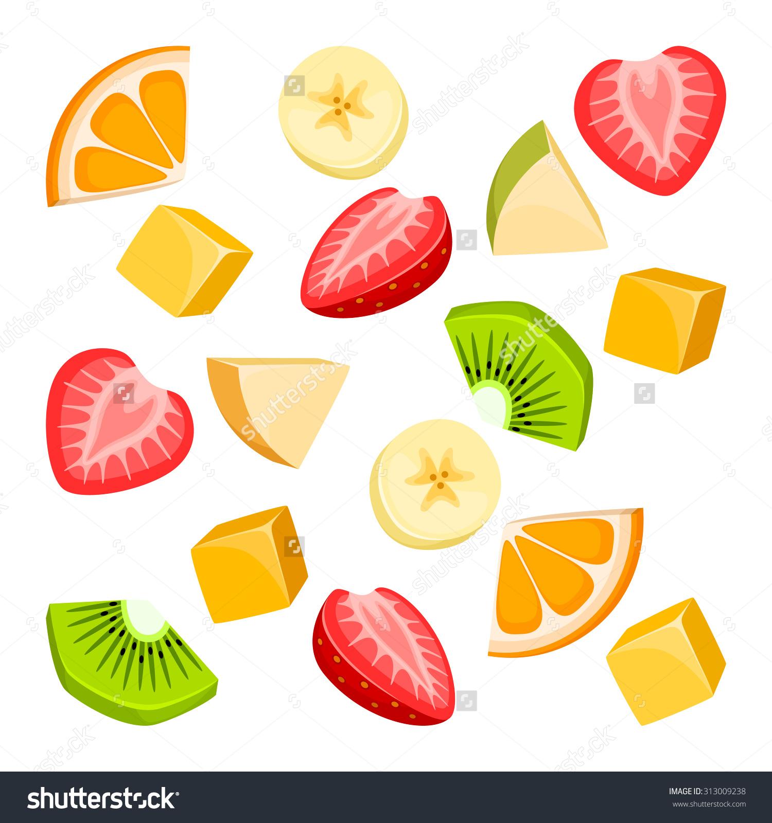 Pieces Fruit Stock Vector 313009238.