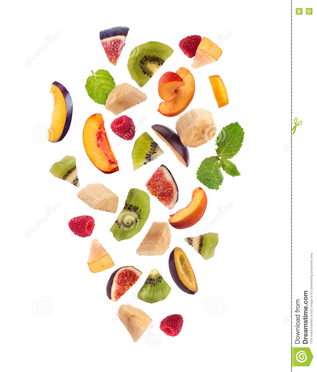 Fresh Mixed Fruits Pieces Falling, Fruit Salad Stock Photo.
