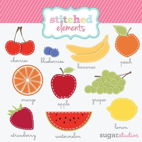 Stitched Fruit Digital Clipart.
