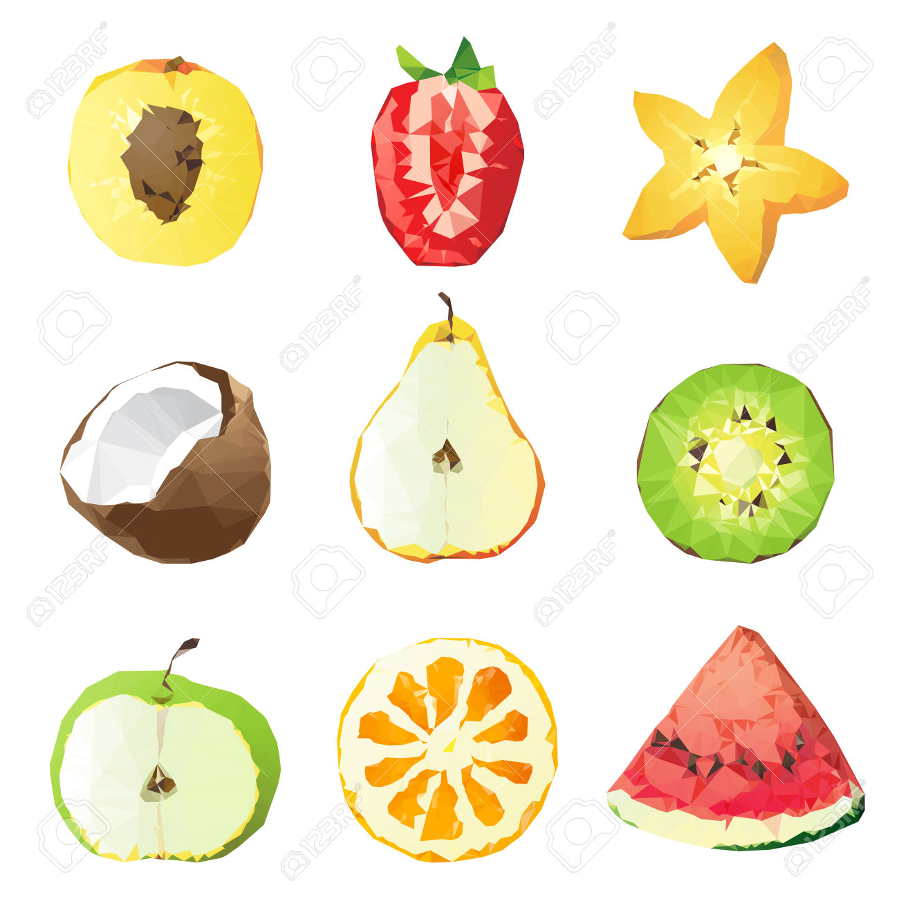 9 Fruit Pieces In Lowpoly Style Over White Background Royalty Free.
