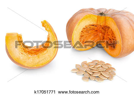 Stock Photography of Cut pieces of pumpkin soup and slices and.