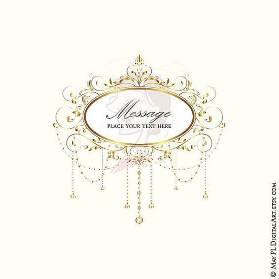 Wedding Clip Art Gold Foliage Clipart Vine Monogram Frame Crystal