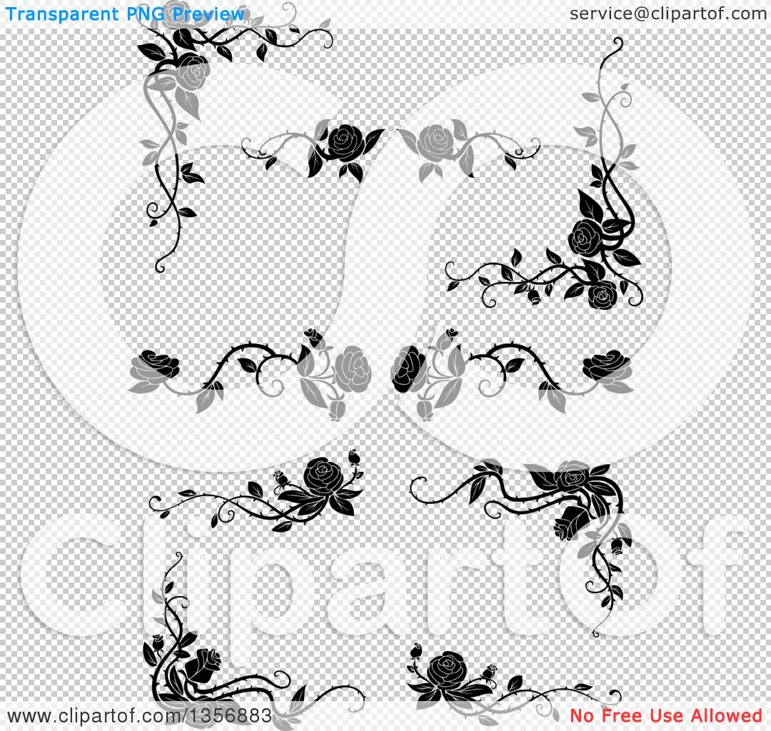 Clipart of Black and White Corner Floral Rose Vine Border Design.