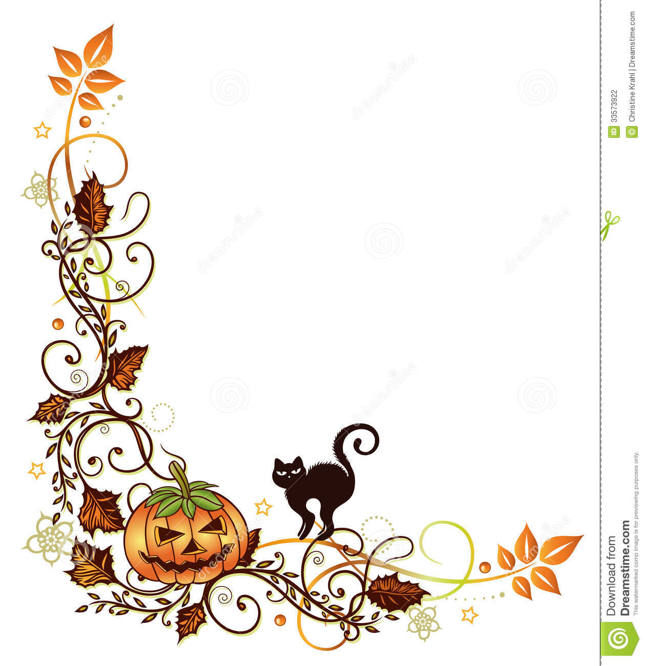 Pumpkin Border Black And White Clipart.