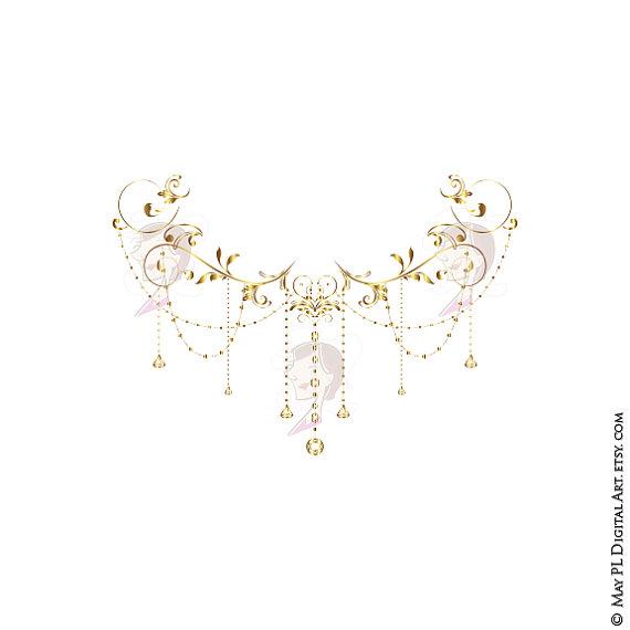 Wedding Clip Art Gold Foliage Clipart Vine Monogram Frame Crystal.