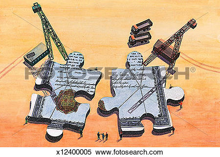 Stock Illustration of Piecing Together the Puzzle x12400005.