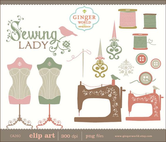 Vintage Sewing Lady clip art, hand drawn clipart.