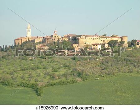 Stock Photography of Tuscany, Italy, Pienza, Toscana, Europe.