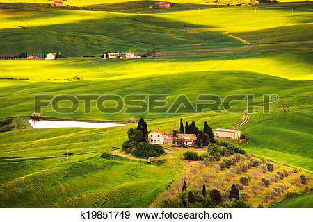 Stock Photograph of Pienza Val d Orcia, rural sunset landscape.