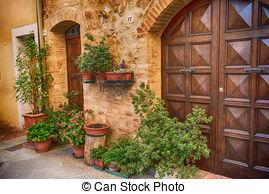 Stock Image of Walls of Pienza, Tuscany, Italy.