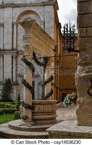 Stock Photos of Outside Pienza Cathedral csp14536230.