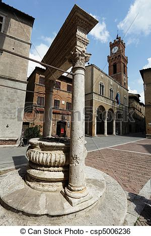 Stock Image of Pienza, the well on mainsquare.