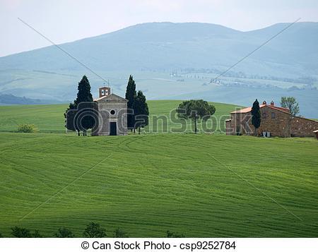 Stock Photo of The lonely church Capella de Vitaleta near Pienza.