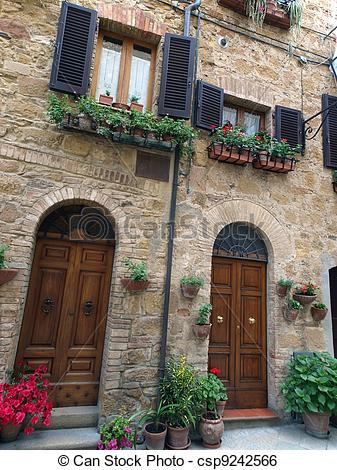 Stock Image of The town of Pienza is a small pearl in the Tuscan.