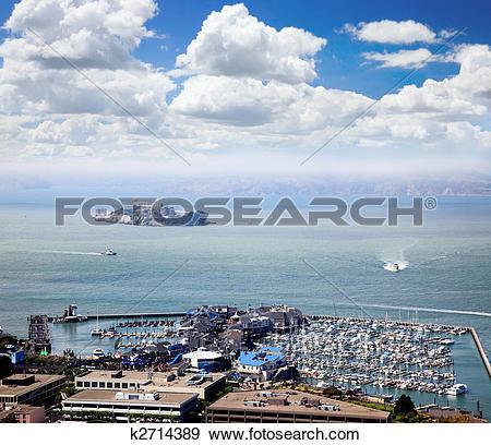 Stock Photograph of Alcatraz Island and Pier 39 k2714389.
