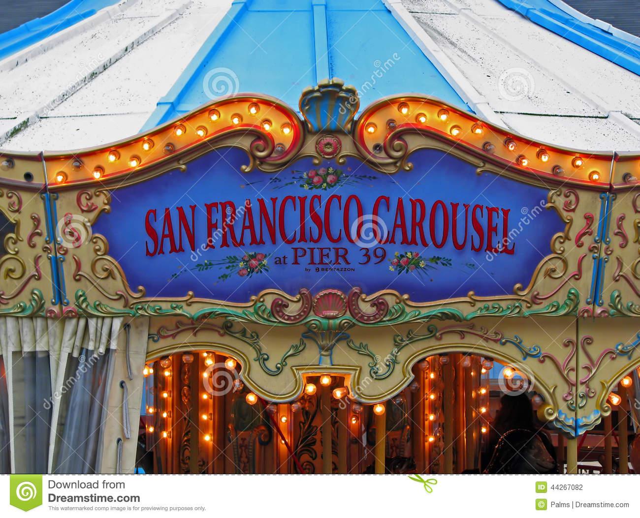 San Francisco Carousel Pier 39 Stock Photo.