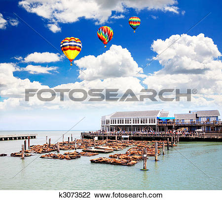 Stock Photo of Sea lions at the Pier 39 k3073522.